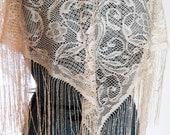 SALE!  Lace Fringe Shawl, Bohemian Vintage Shawl.