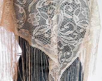 SUMMER SWOON CLEARANCE!  Lace Fringe Shawl, Bohemian Vintage Shawl.