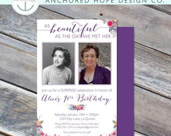 Women's Birthday Invitation - 5x7 - 40th, 50th, 60th, 70th, 80th, 90th - Photo Card - Purple Floral -  Digital Printable File - Cardstock