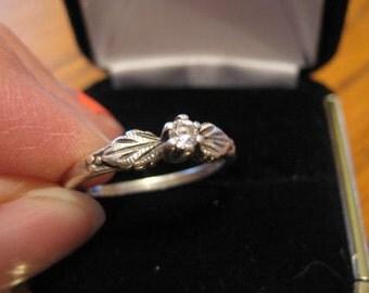 Diamond ring, vintage.  Sterling silver.  Wedding ring.