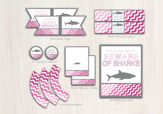 SHARK Birthday Party Pack for girls - Pool or Beach Party Supplies - INSTANT DOWNLOAD