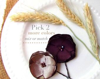 """2 Small Fall Flower Hair Pins, Simple Fall Wedding hair Flowers, Purple Flower Girl Hair Clip Plum Bridesmaid Hair Accessory, 1.5"""" Hairpins"""