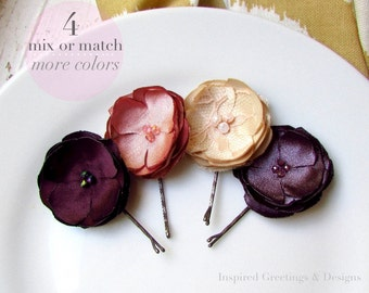 PICK 4 Fall Bridesmaid hair Accessories Autumn Floral Pieces, Dusty Pink Rose Blush & Plum Purple Silk Flower hair Pins, Lace, Pearl Crystal