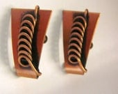 Vintage Modernist Copper Earrings / Mid Century / Jewelry / Jewellery