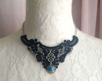 Black Lace Turquoise  Pendant Choker Necklace Elegance Victorian Boho Bohemian Tribal  Handmade Lace Collar Fashion Jewelry