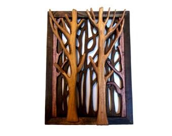 Wood Tree Dimensional Art, Forest Wall Decor