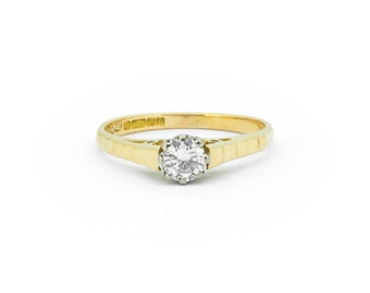 The Retro Diamond Engagement Ring - 18ct Gold Vintage Diamond Ring
