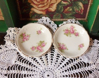 Two English Rose Butter Pat Dishes, Antique Johnson Bros. England Side Dishes 1902