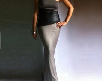 Jersey Long Skirt / Maxi Jersey Skirt / Removable Long Belt / Soft Italian Jersey