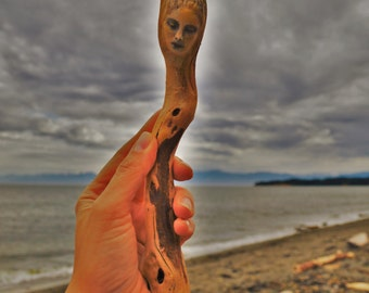 Reserved for Barbara, Sept. Payment 2 of 3, Golden Spirit Wand, Driftwood Altar Wand by ShapingSpirit