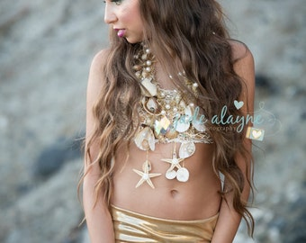 Gold Lace Starfish Mermaid Crown - Shell Crown - Gold Crown - Bridal Crown - Bridal Headpiece - Mermaid Costume.