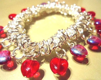 Bright Red Aurora Borealis Glass Love Heart Elasticated Expanding Fashion Trend Bracelet - Ladies Jewellery-Gifts for her-Gifts for women