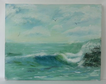 Vintage Crashing Waves Seascape
