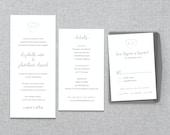 Printable Wedding Invitation Set - Written on your Heart - Invitation, RSVP Card & Enclosure Card