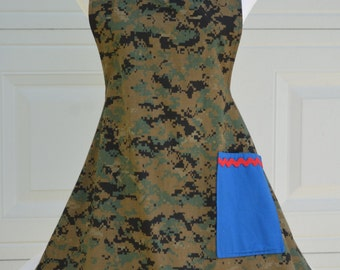 Military Patriotic Apron,  Woman's Cooking Apron, Ready To Ship