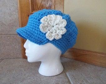 Newsboy Hat, Crochet Newsboy Hat, Knit newsboy cap,  Womens Hat, blue, light blue, white flower