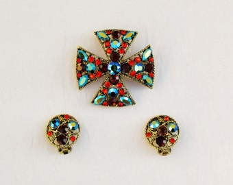 Vintage Maltese cross pin and earrings set, vintage 1960's brooch and clip earrings set