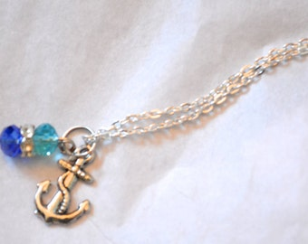Anchors Away - Nautical Charm Silver Long Necklace. Anchor Charm. Blue Ocean Beads. Gift. Beach. Swarovski Crystal