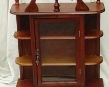 Vintage Wooden & Glass Knick Knack Shelf - Wall Hanging Cabinet