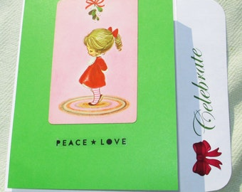 Handmade Mistletoe Holiday Handmade Greeting Card