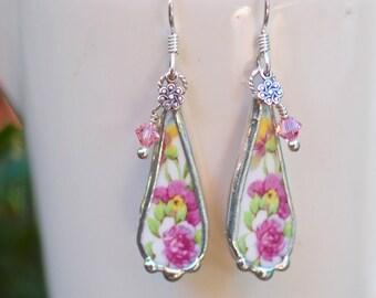 Earrings, Broken China Jewelry, Broken China Earrings, Pink Flowers, Sterling Silver Earrings
