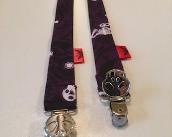 Purple Muertas Binky Leash - Pacifier Clip - Pacifier Leash - Pacifier Clip - Baby Bink Link - Baby or Infant Pacifier Leash