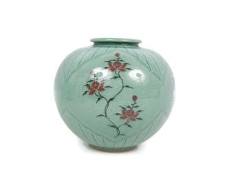 Vintage Cherry Blossom Vase Asian Blue Porcelain Bulbous Hand Painted Song Dynasty Era Design Artist Signed Japanese Urn Vessel