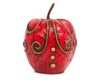 Vintage Fitz Floyd Red Apple Paperweight Paper Mache Figurine Red Decor Made in Japan