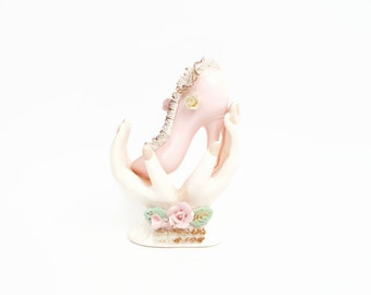 Vintage Ladies Hands Spaghetti Lace High Heel Shoe Vase Porcelain Flowers Applied Pink Roses Capodimonte Style Japan