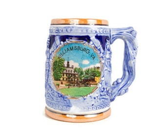 Vintage Williamsburg Virginia Stein Souvenir Tankard Cobalt Blue Pottery Beer Mug Brew Collector Stoneware LHC JAPAN