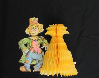 beistle halloween scarecrow centerpiece with honeycomb corn stalk vintage 1979 fall decoration - Halloween Corn Stalks