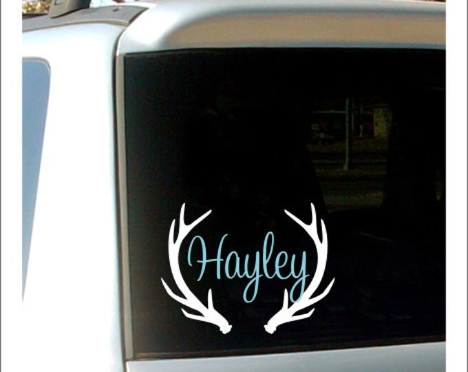Antler Name Decal Antler Monogram Antler Name Decal Vinyl Decal Car Decal Name with Antlers Hunting Decal Girls Hunting Decal Car