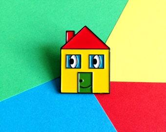 House Pin, Cute Enamel Lapel Pin, hello DODO Pin, Enamel Pin Badge, Happy House Pin Brooch, Yellow Red Blue Green Pin, Fun Pin, Happy Pin