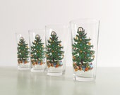 Vintage Christmas Highball Tumbler KIG INDONESIA Christmas Tree Glasses