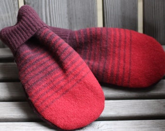 sweater mittens, wool mittens, felted wool mittens, recycled sweater mittens, upcycled sweater, red mittens