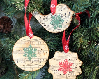 Vintage Sheet Music Holiday Ornaments