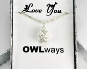 Love You OWLways Sterling Silver cute Owl Necklace,  3D Owl Necklace, Wise Bird Animal Jewelry, Gift For Any One Y079
