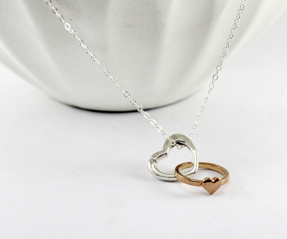 silver heart ring holder necklace wedding ring keeper