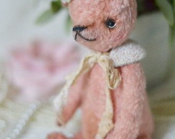 OOAK Artist bear vintage pink  by Lollipopbears