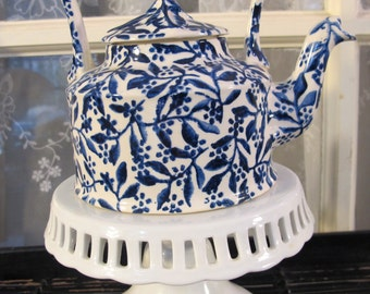 Vintage 90's blue and white pottery pitcher by Victor Carea