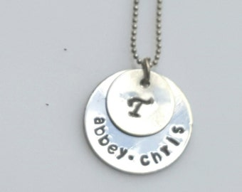 Double layer of Luv-Custom Hand Stamp Necklace