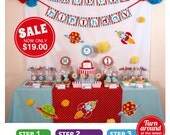 Rocket Space Birthday Party Package Personalized FULL Collection Set - PRINTABLE DIY - PS828CA1x