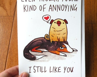 funny dog card, thank you card, anniversary card, valentines day card