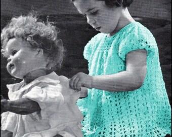No.36 PDF Vintage Crochet Pattern WW2 Era 1944 Crocheted Dress - Little Mother - Sizes 2, 4 Years Old - Instant Download