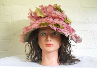 Vintage Garden Party Hat Floral Hat Pink Hat 50s Hat 1950s Hat Ladies Hat With Bow Summer Hat Women Green Hat Fancy Hat Girly