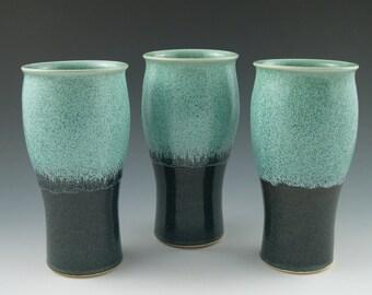 Tumblers Pint Mugs in Aqua and Dark Blue Handmade Pottery