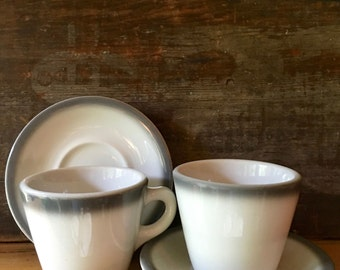Heavy Diner Coffee Cup and Saucer, Grey and White, Shenango 1960
