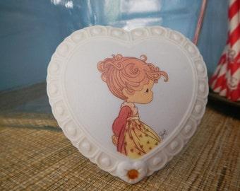 Enesco Precious Moments Trinket Keepsake Birthstone Heart Shaped Box November Topaz Generous & True Red Head Girl