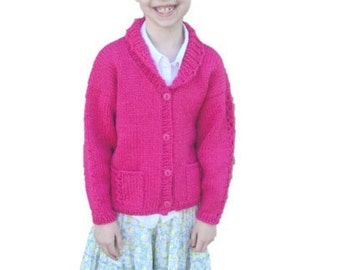Knitted Shawl Collar Cardigan for Girls, size 8, Bright Pink, Chunky Warm Sweater, Cute Kids Wear