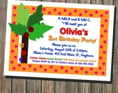 Alphabet  - ABC's - Chicka Chicka Boom Boom - Coconut Tree - Birthday Party Invitation 5x7 Printable (digital file)